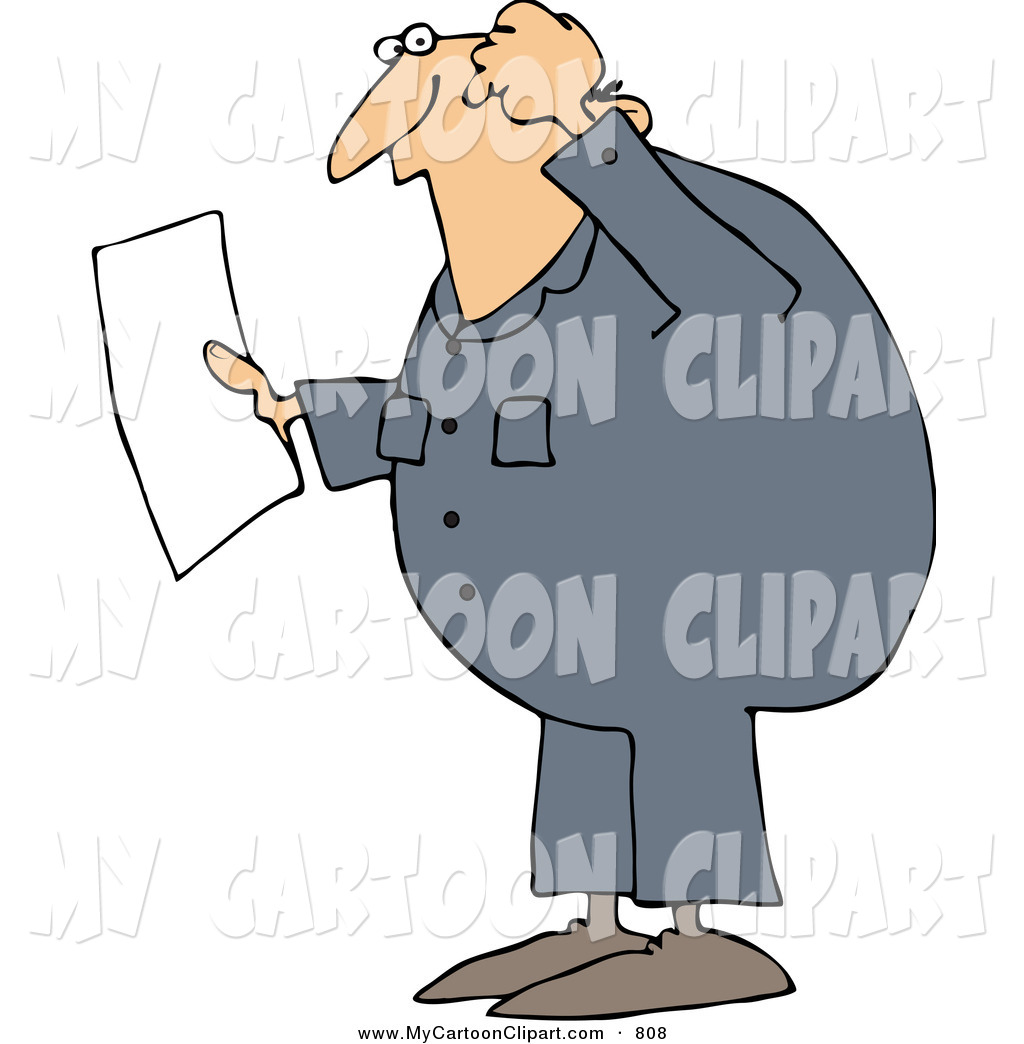 A confused man reading clipart.