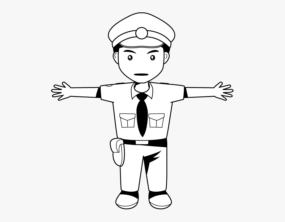 Cop Clipart Black And White.