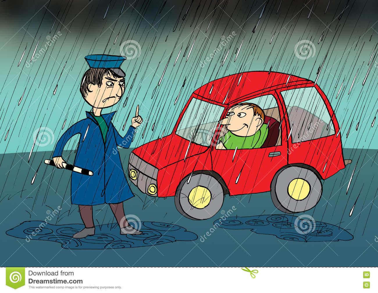 Policeman Stopping Car In The Rain, Cartoon Stock.