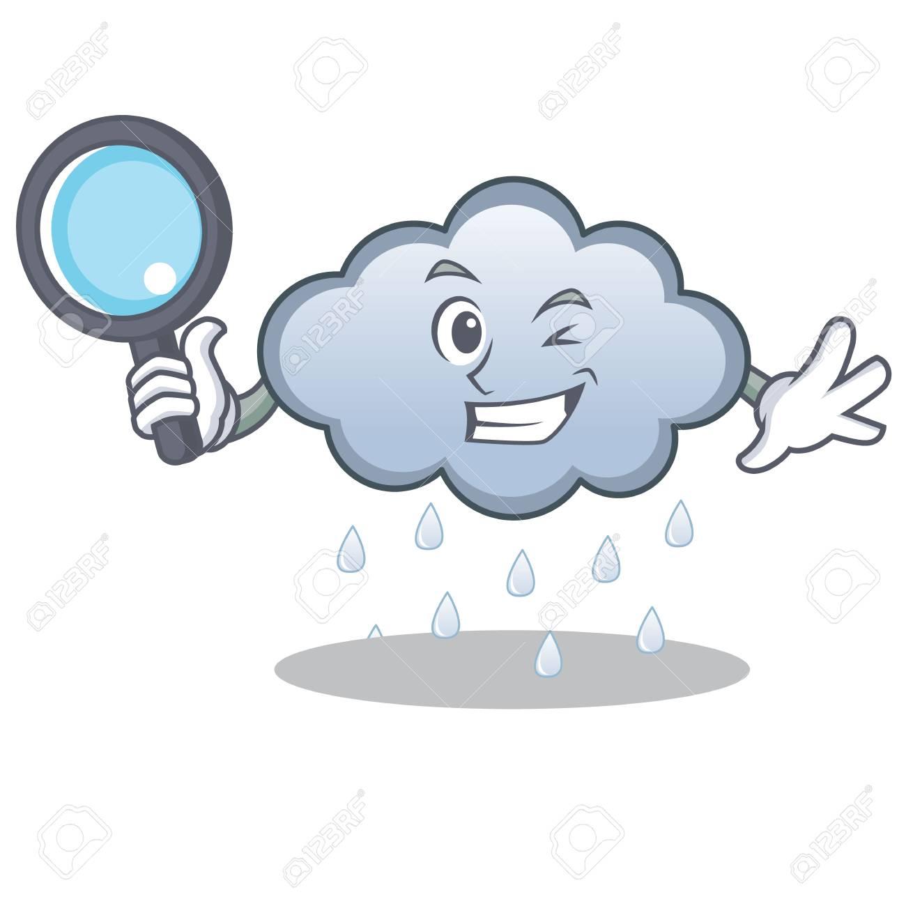 Detective rain cloud character cartoon.