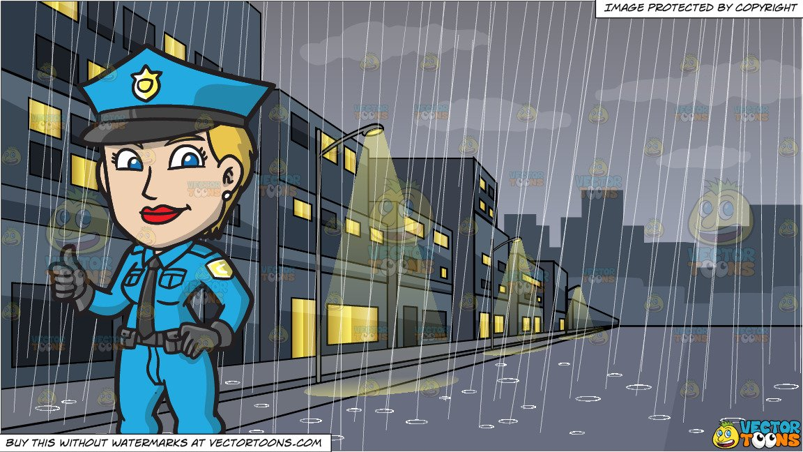 A Female Police Officer Giving Her Approval and A Rainy Day In The City  Background.