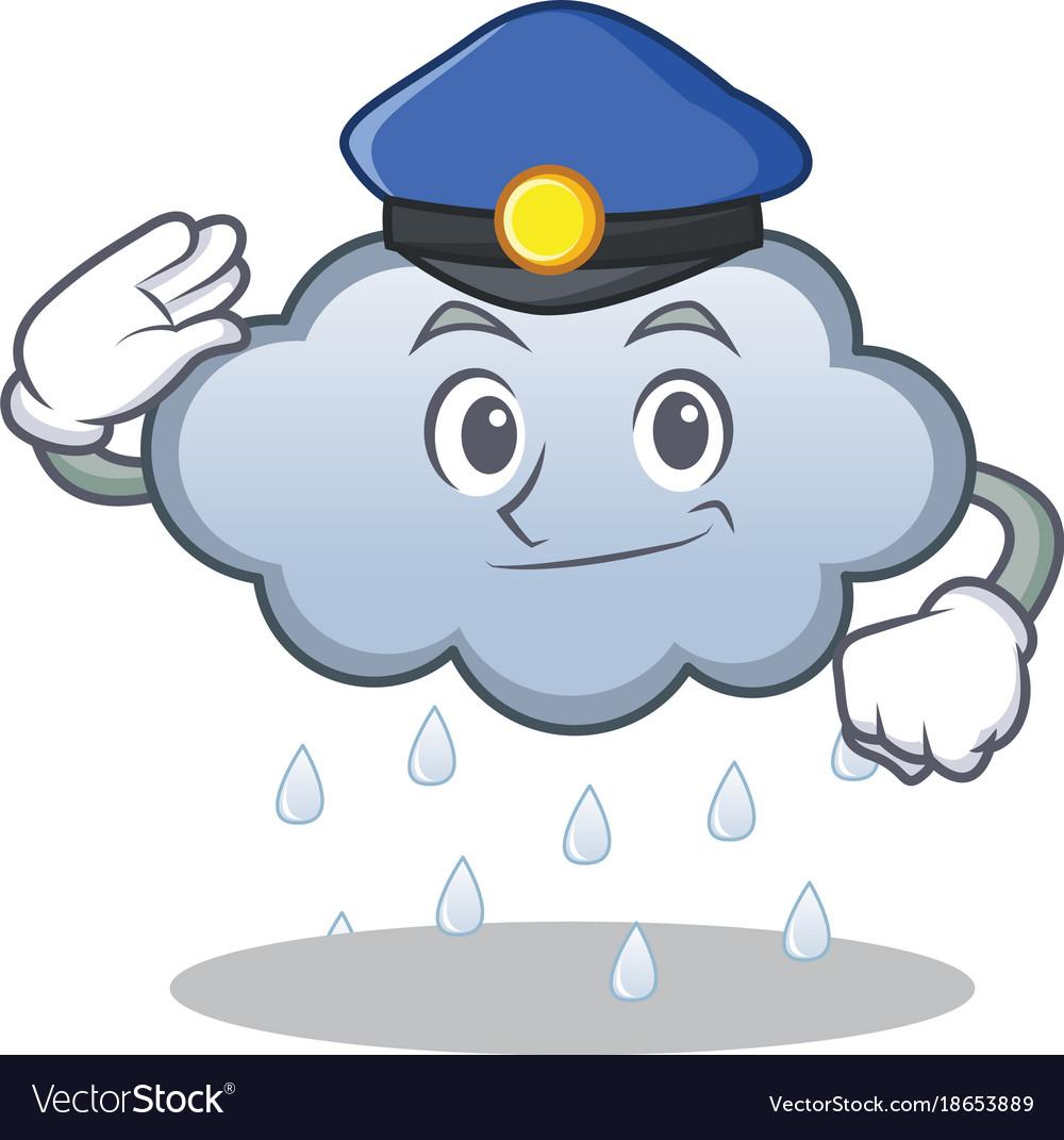 Police rain cloud character cartoon.