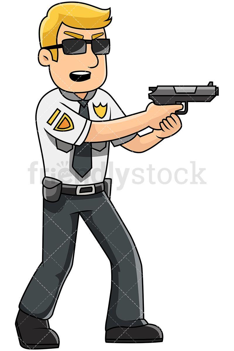 Male Police Officer Holding Service Pistol.