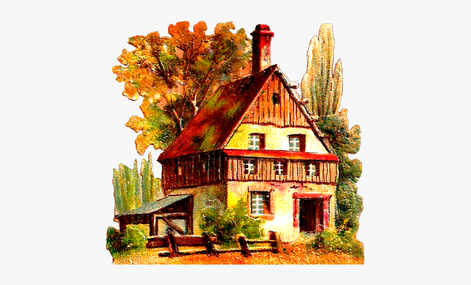 Cottage Clipart Vintage House.