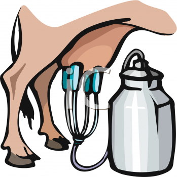 Clipart of a Cow Being Milked.