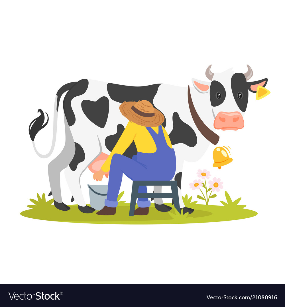 Farmer milking a cow.