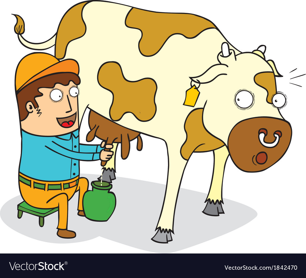 Man milking cow.