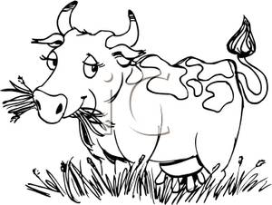 Cow Eating Grass Clipart
