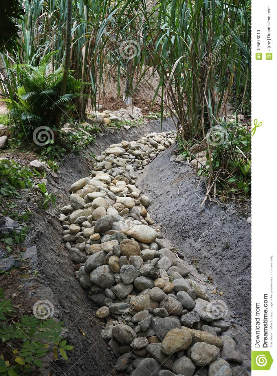 Dry Creek Bed Filled With A River Of Stones Stock Photo.