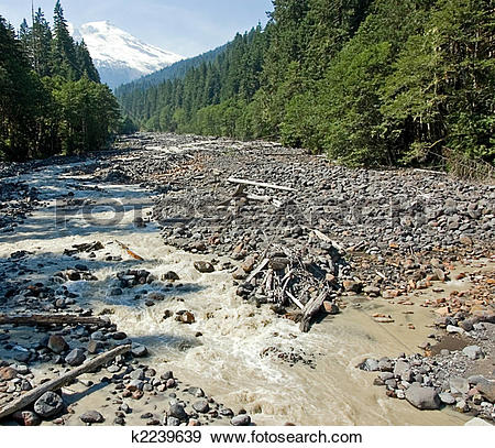 Stock Photograph of Low Creek Bed With Beautiful Mountain k2239639.