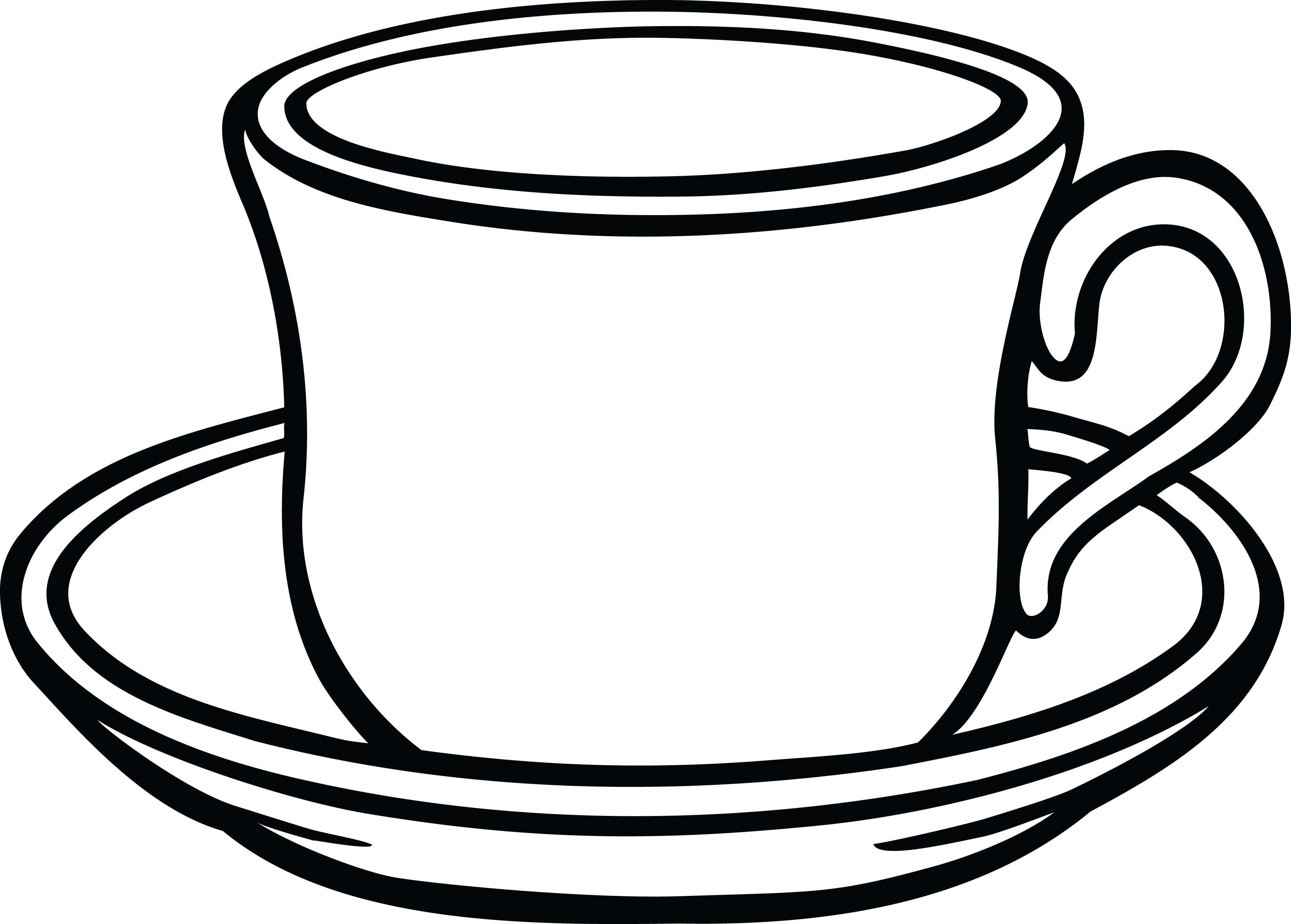 Free Clipart Of A cup of coffee and saucer.