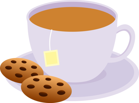 Cup of Tea With Chocolate Chip Cookies.