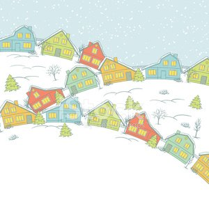 Christmas card, cute little town in winter Clipart Image.