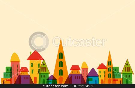 Cute little town stock vector.