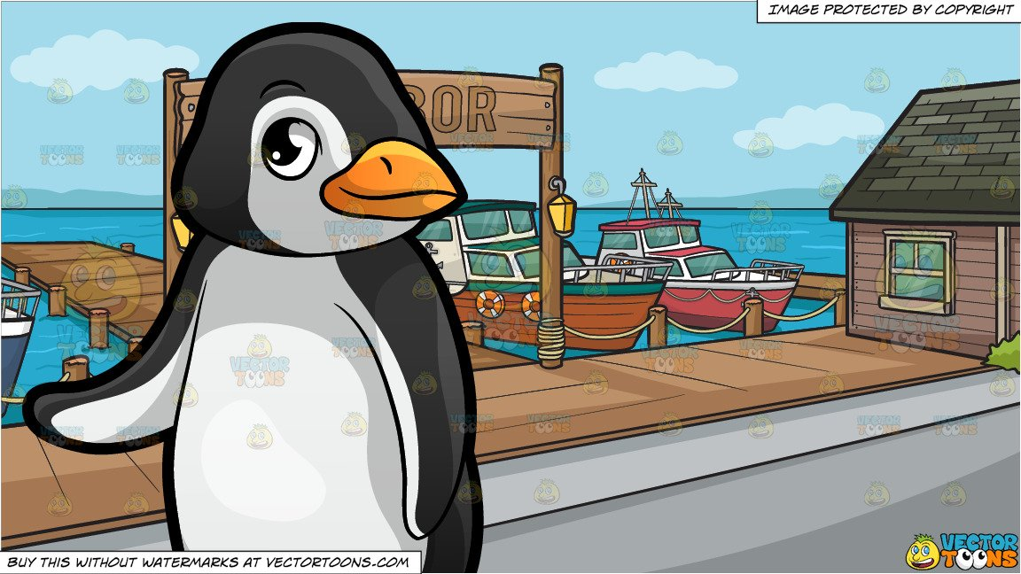 A Cute Little Penguin At The Zoo and A Small Town Harbor Background.