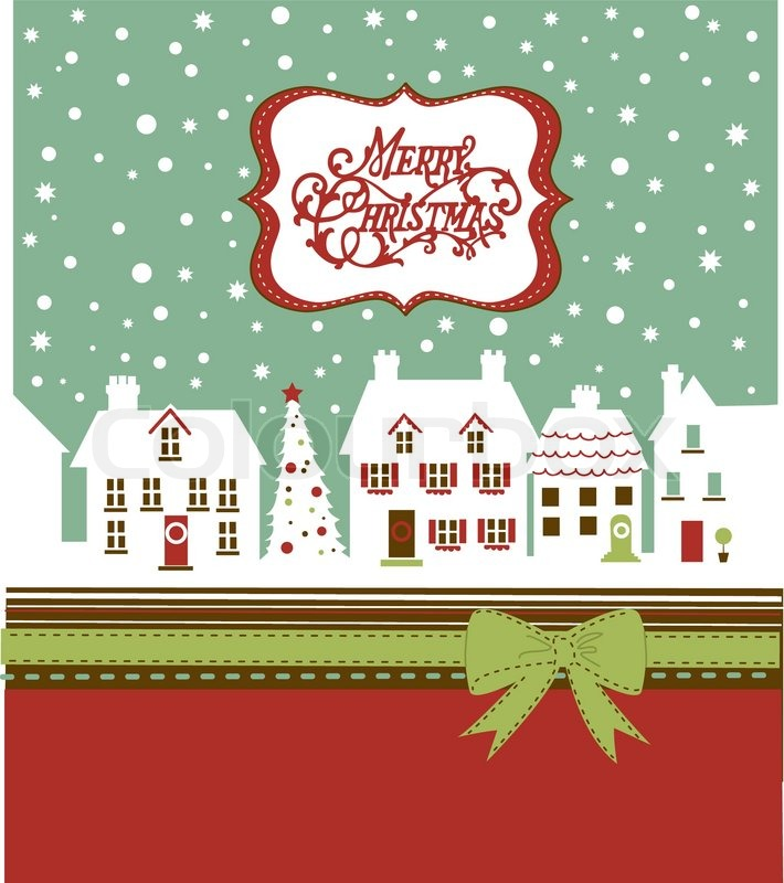 Christmas card, cute little town in.