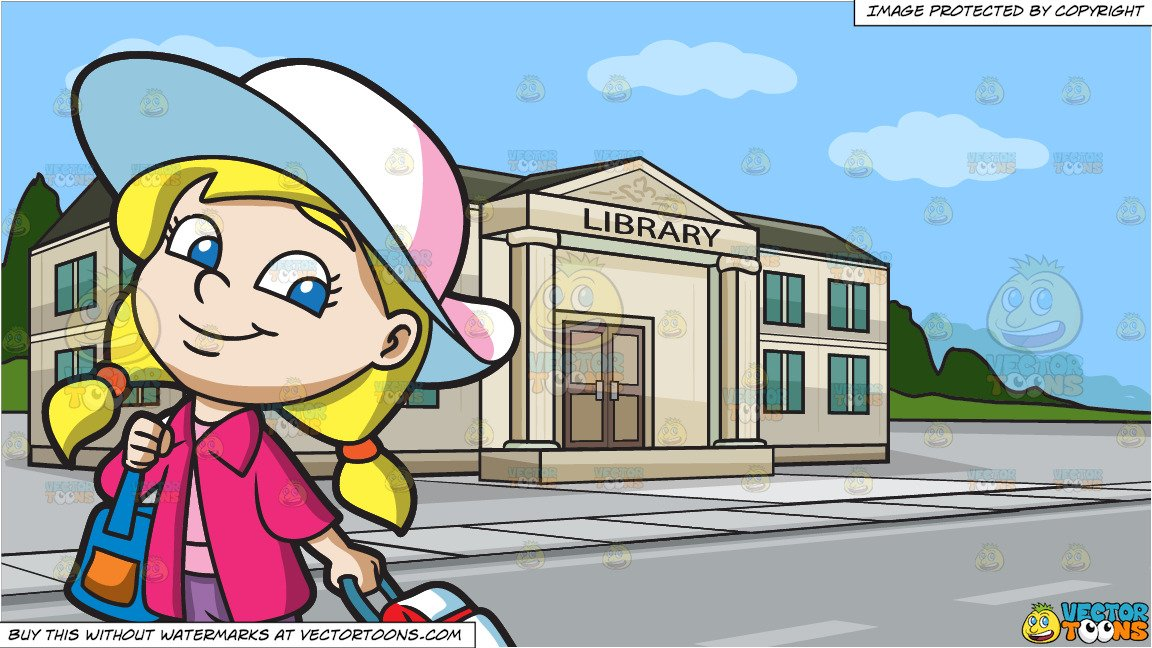 A Cute Little Traveler and A Small Town Library Background.
