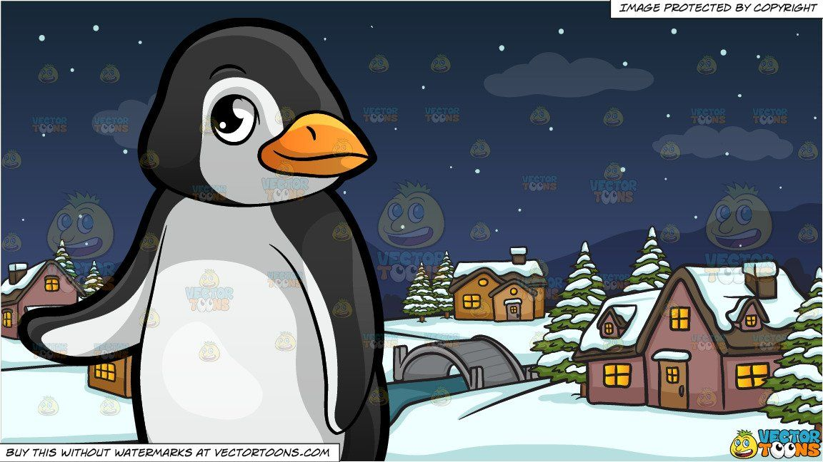 clipart #cartoon A Cute Little Penguin At The Zoo and Winter.