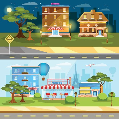 Cityscape banner night and day city town life Clipart Image.