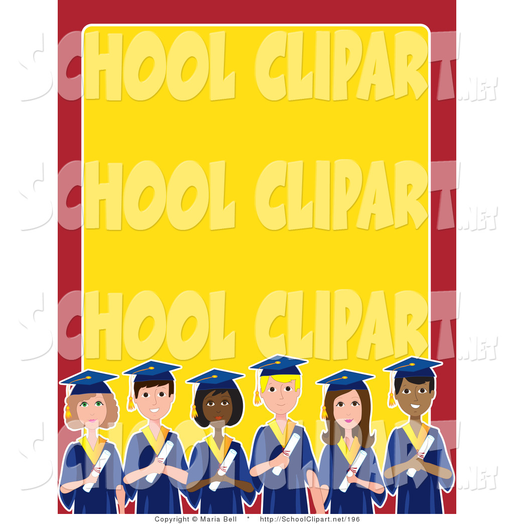 Clip Art of a Group of Diverse Male and Female Students on Their.