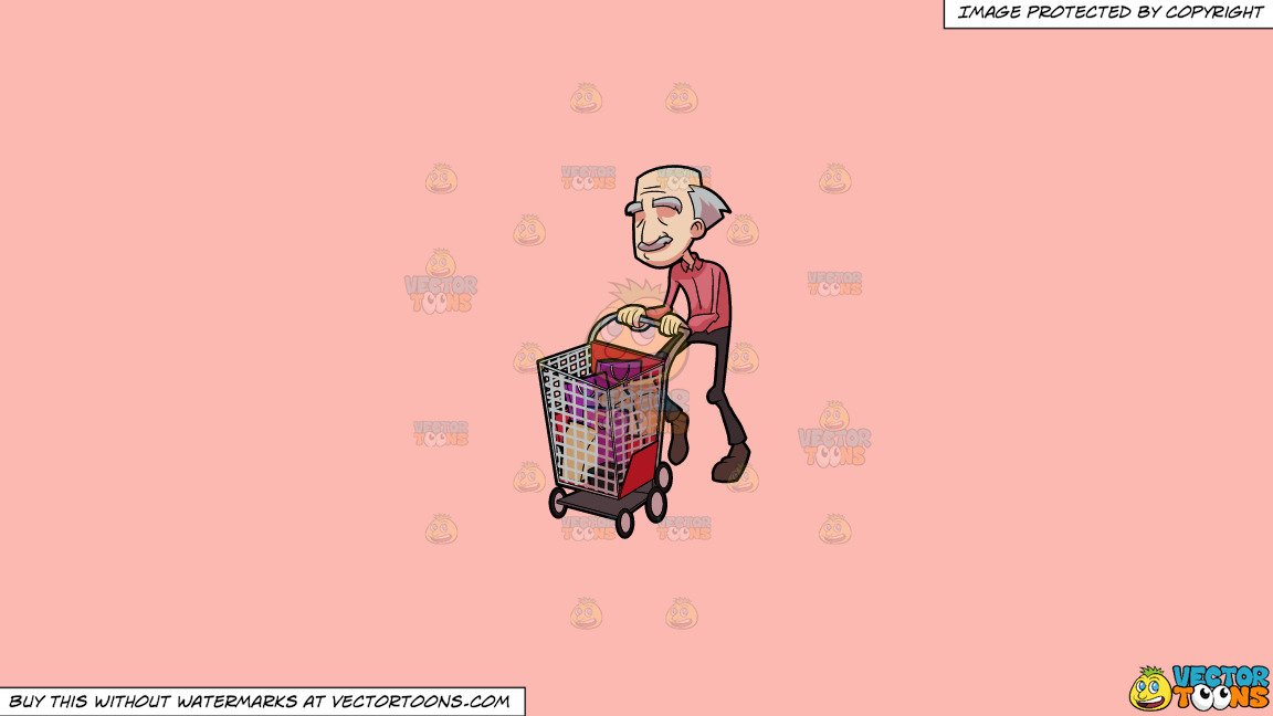Clipart: A Grandpa Enjoying His Shopping Day on a Solid Melon Fcb9B2  Background.