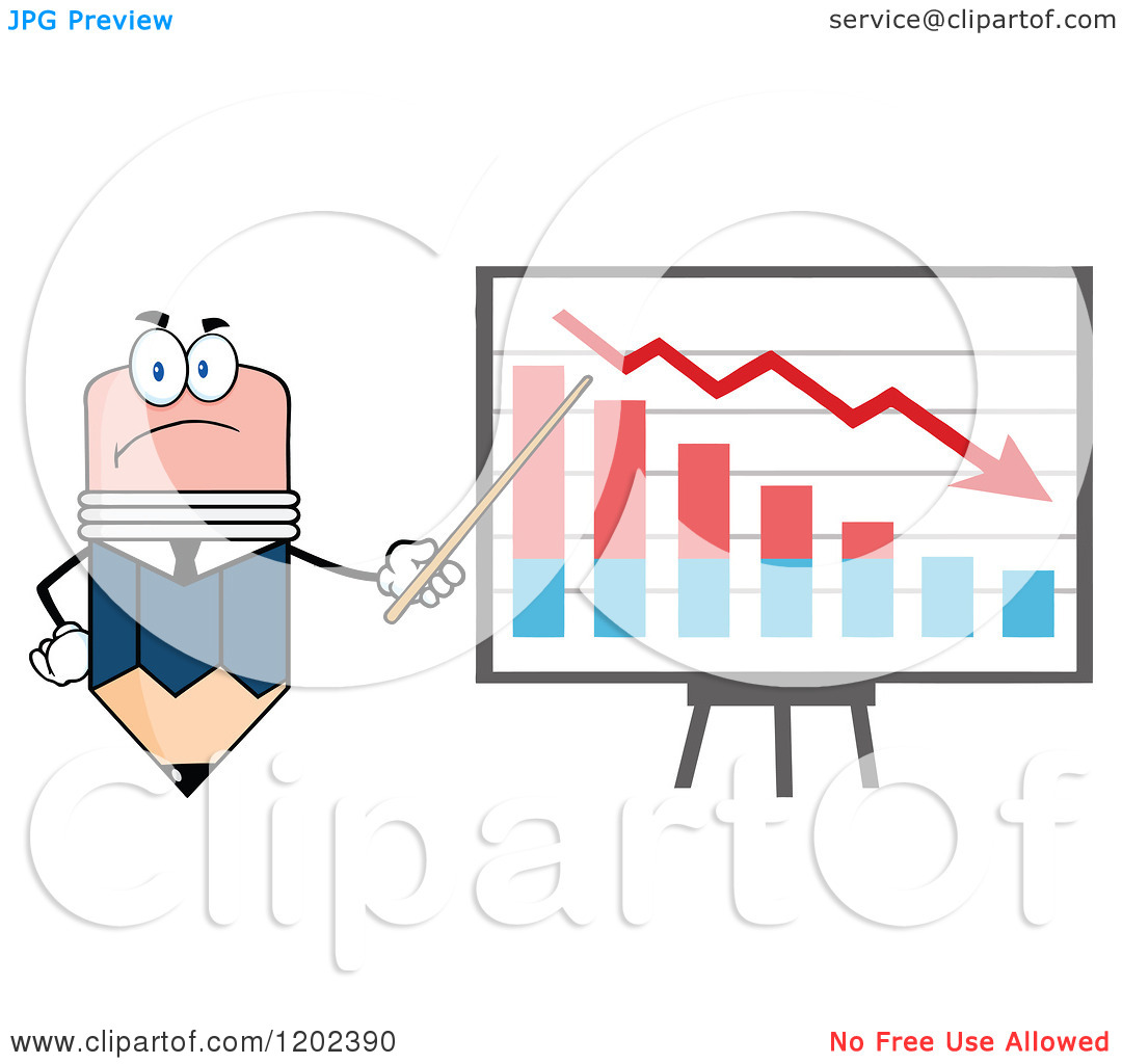Cartoon of a Business Pencil Mascot Pointing to a Decrease Chart.