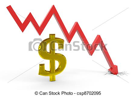 Stock Illustrations of Decrease dollar graph. Computer generated.