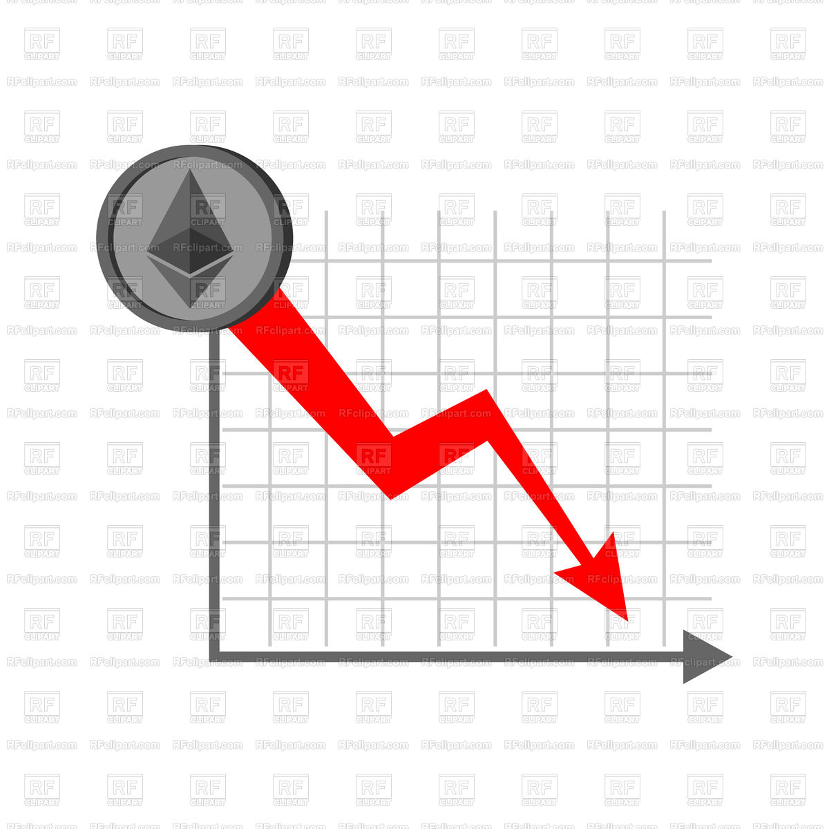Falling etherium graph. Decrease in Cryptocurrency. Vector Image of.