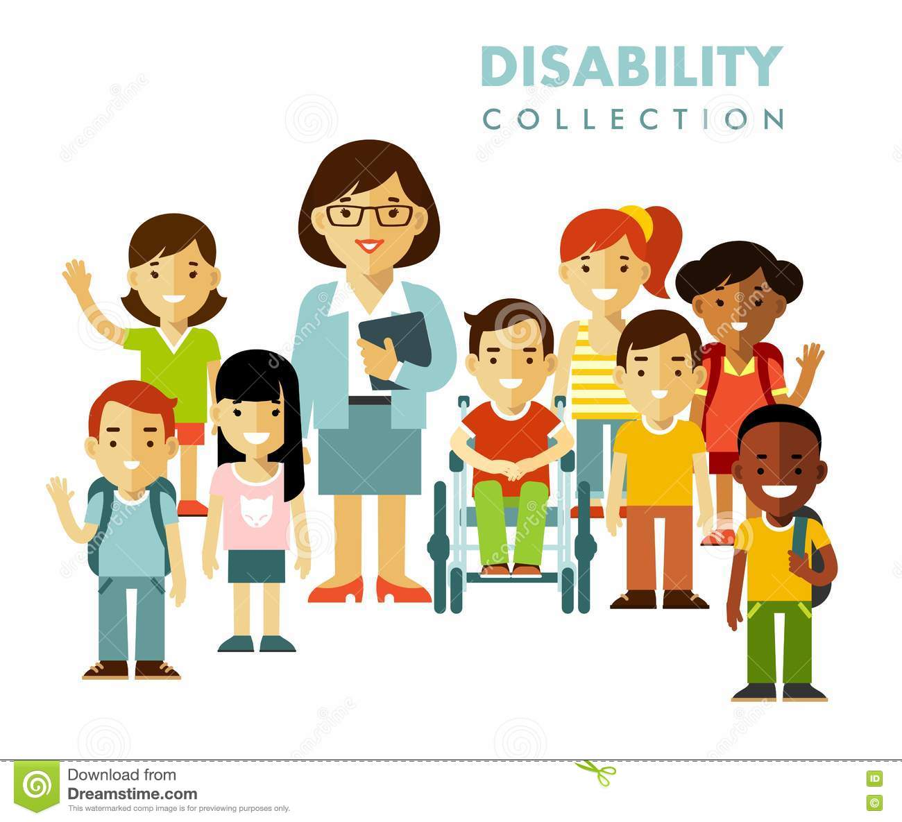 Disability School Stock Illustrations.