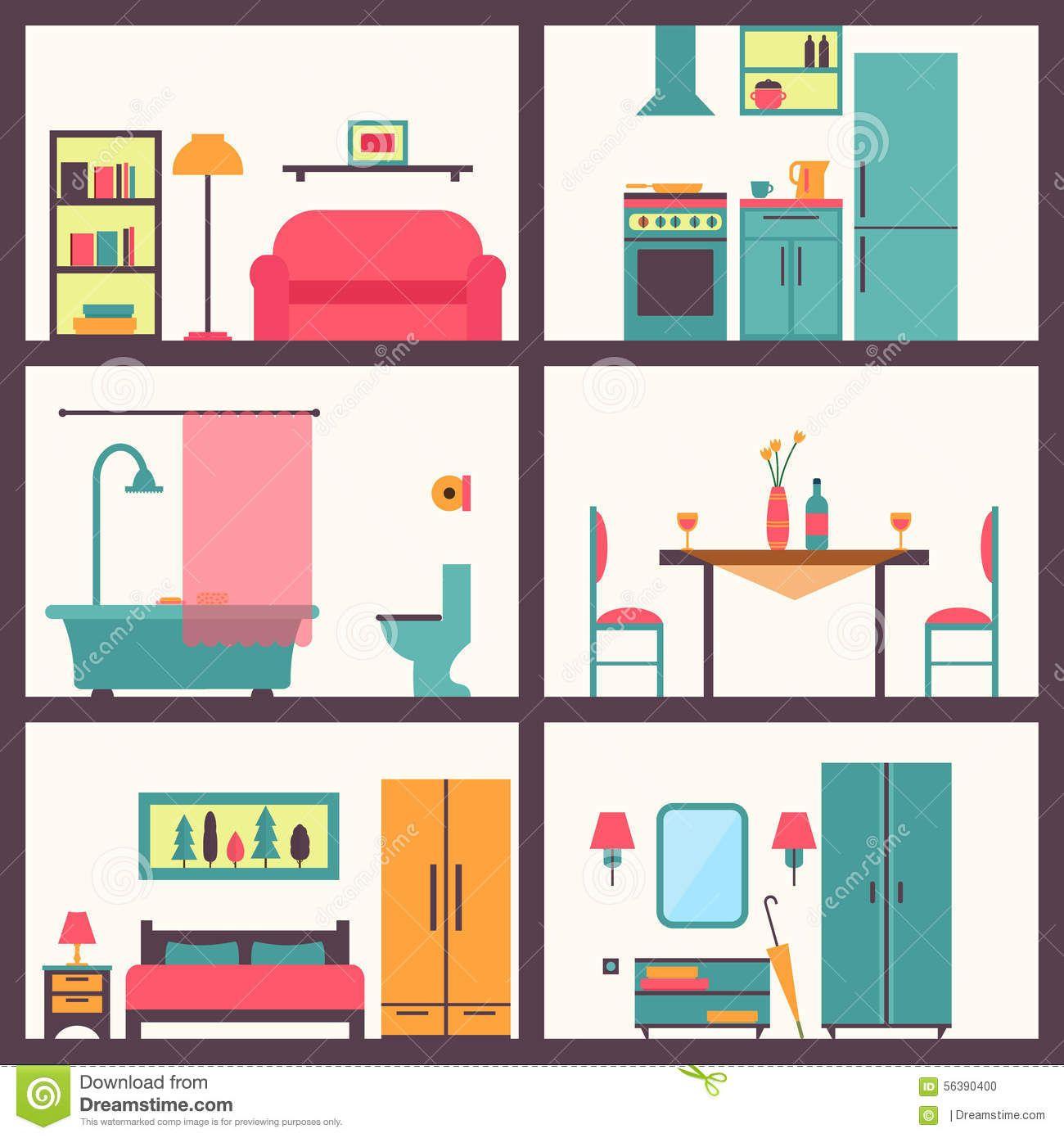 furniture disorganized clipart.
