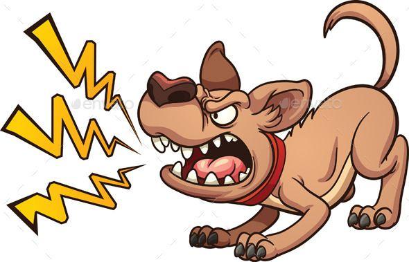 Cartoon barking dog. Vector clip art illustration with.