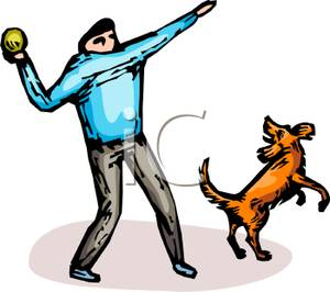 Man and Dog Playing Fetch.