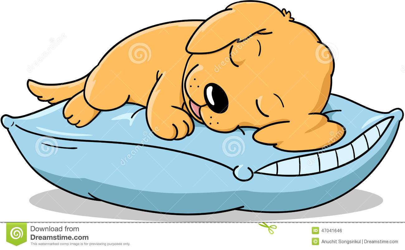 Dog Sleeping In Bed Clipart.