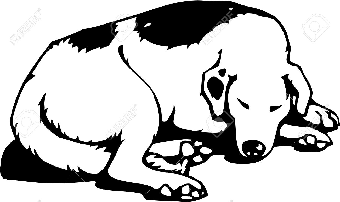 Dog Sleeping Clipart Black And White.