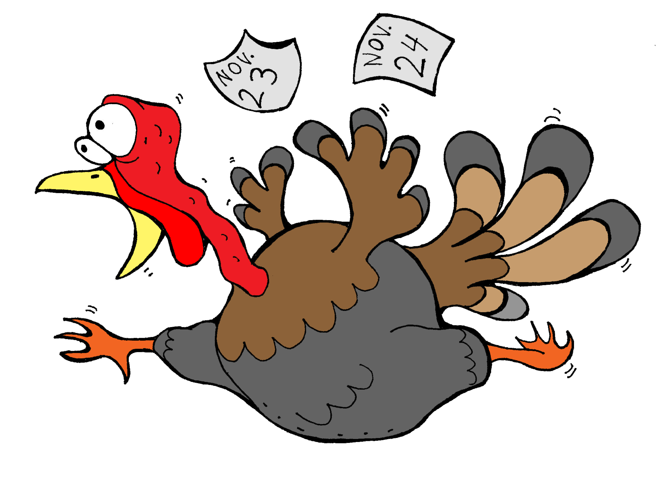 scared thanksgiving turkey clipart.
