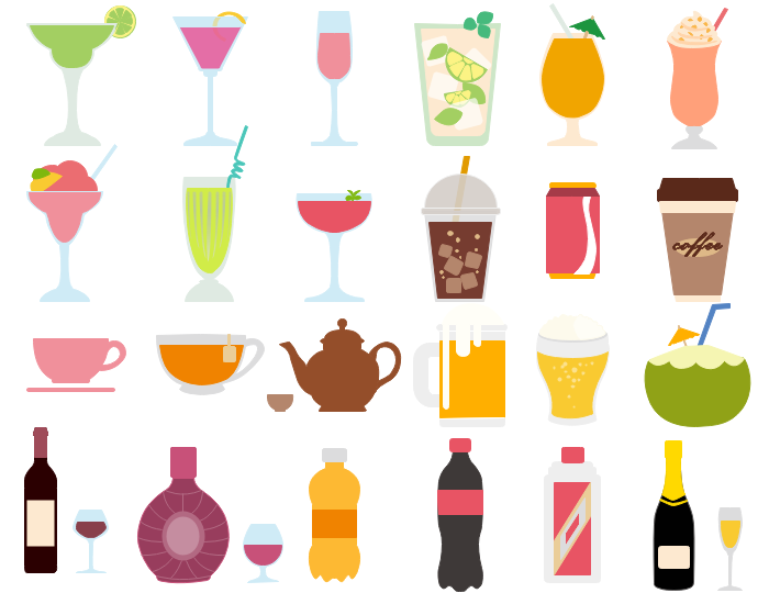 Best Vector Drink and Beverage Clipart.