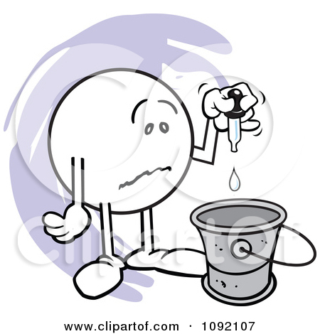 Clipart Sad Moodie Character Putting A Drop In The Bucket.