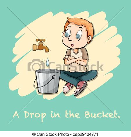 Vectors Illustration of A drop in the bucket illustration.