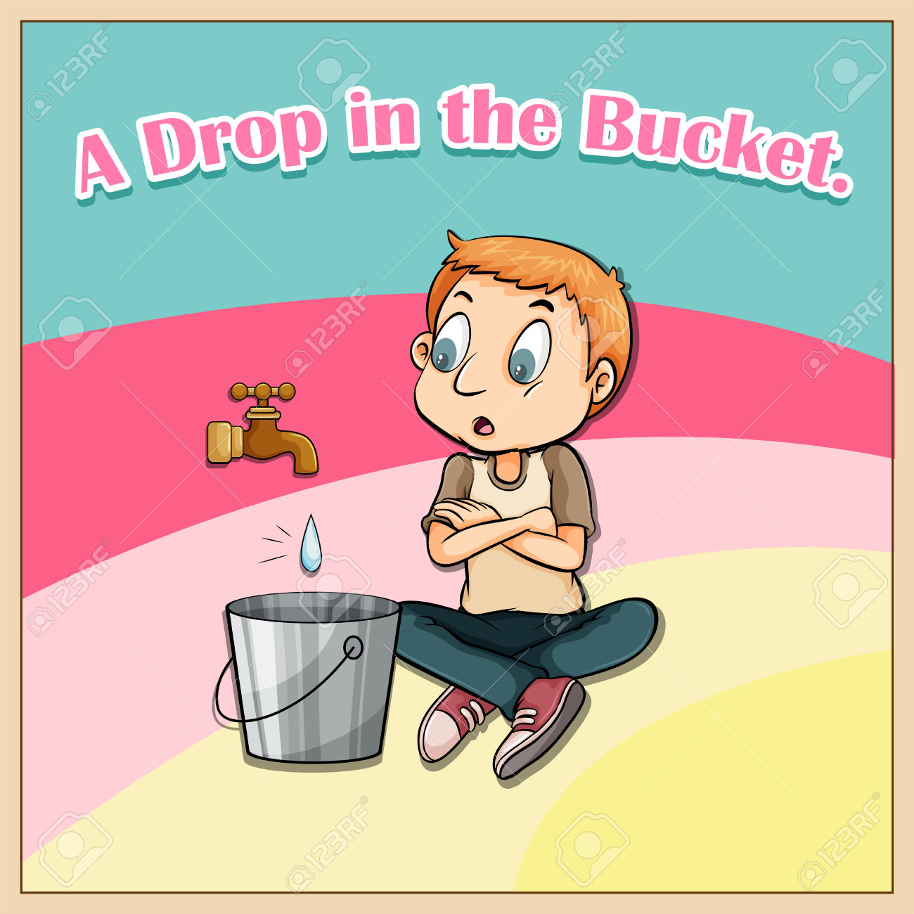 Idiom Saying A Drop In The Bucket Royalty Free Cliparts, Vectors.