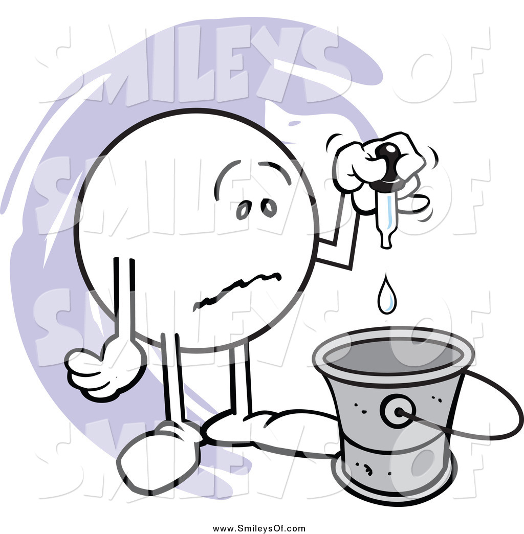 Vector Clipart of a Sad Moodie Smiley Putting a Drop in the Bucket.