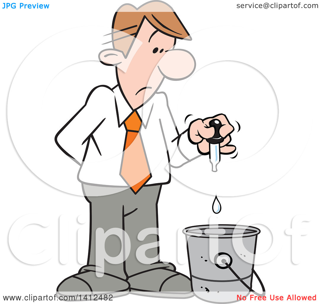Clipart of a Cartoon Caucasian Businessman Putting a Drop in the.