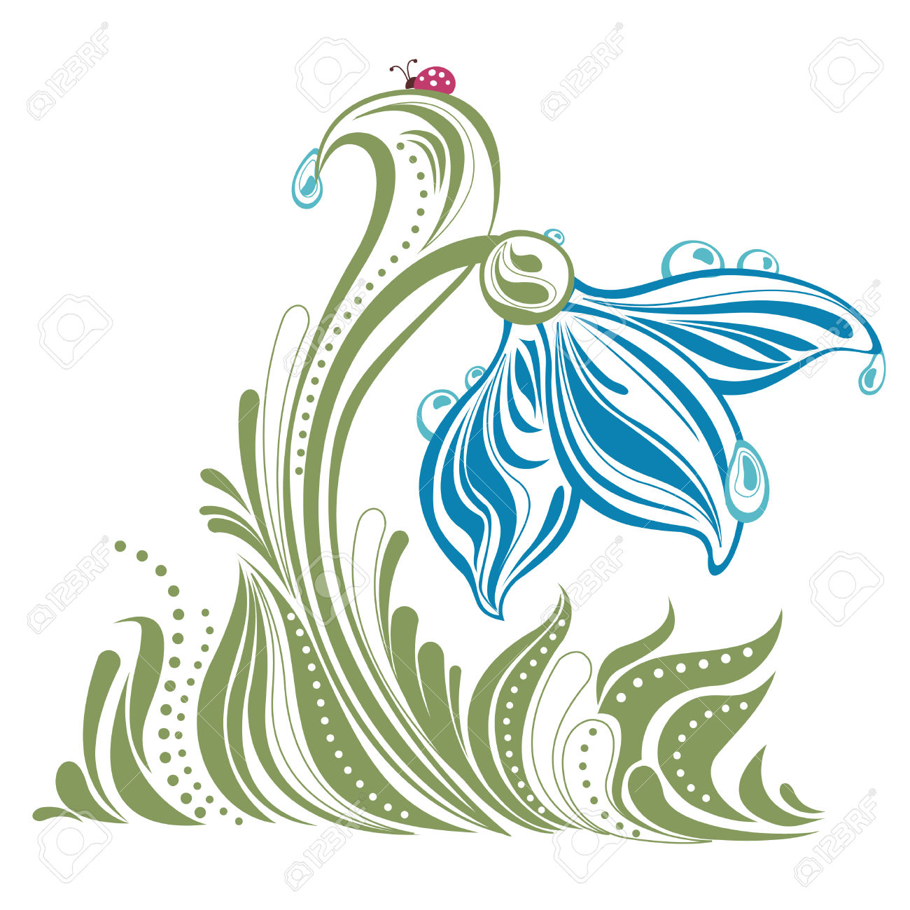 Beautiful Snow Drop With Dew Drops Illustration Royalty Free.