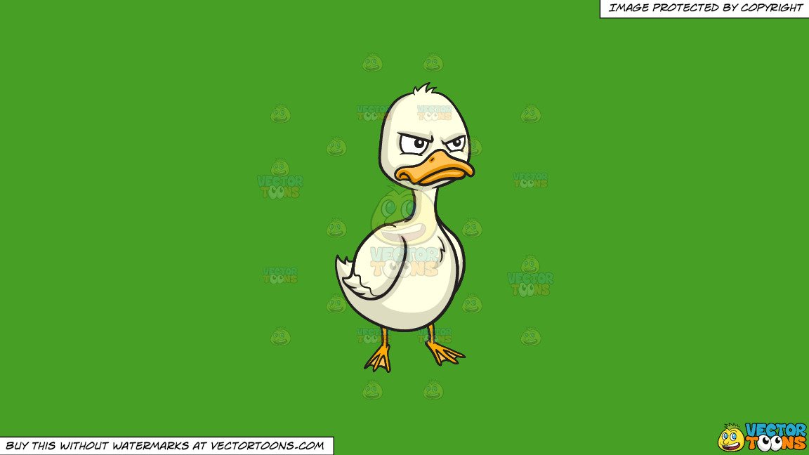 Clipart: An Angry Duck on a Solid Kelly Green 47A025 Background.