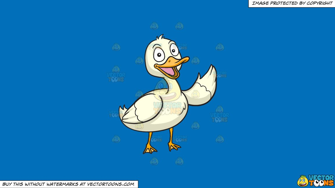Clipart: A Friendly Duck on a Solid Spanish Blue 016Fb9 Background.