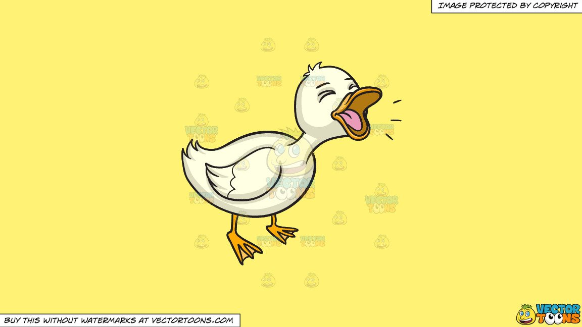 Clipart: A Quacking Duck on a Solid Sunny Yellow Fff275 Background.