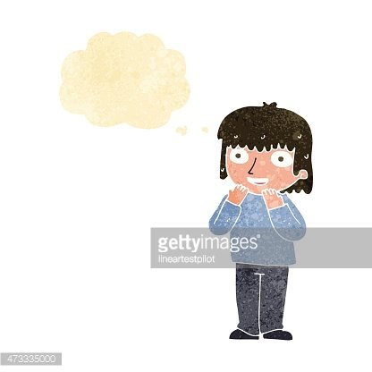 cartoon excited person with thought bubble Clipart Image.