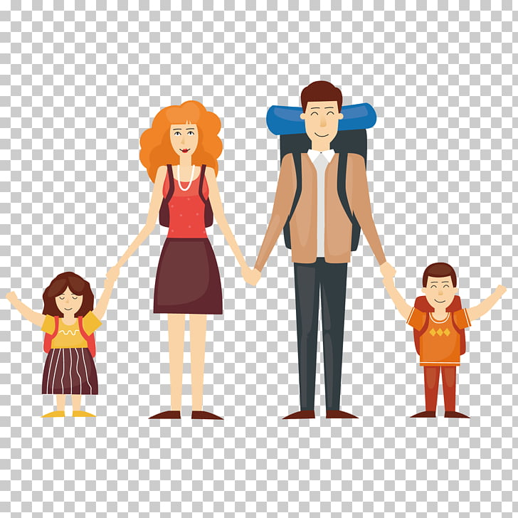 Cartoon Travel Illustration, Travel the family PNG clipart.
