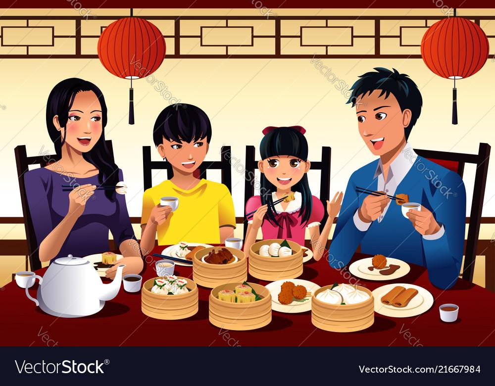 Chinese family eating dim sum.