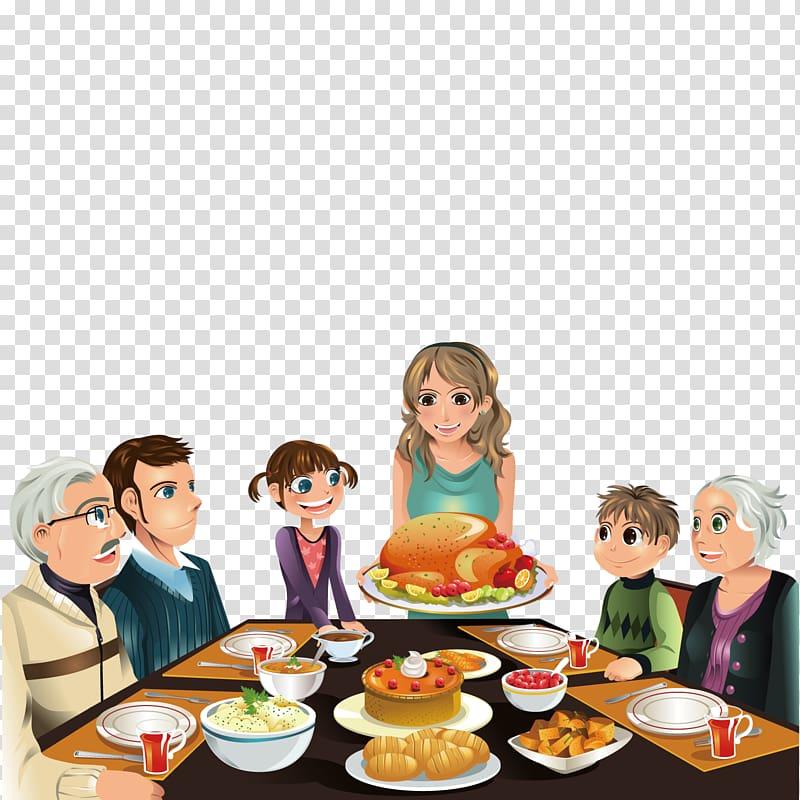 Family eating dinner illustration, Thanksgiving Dinner.