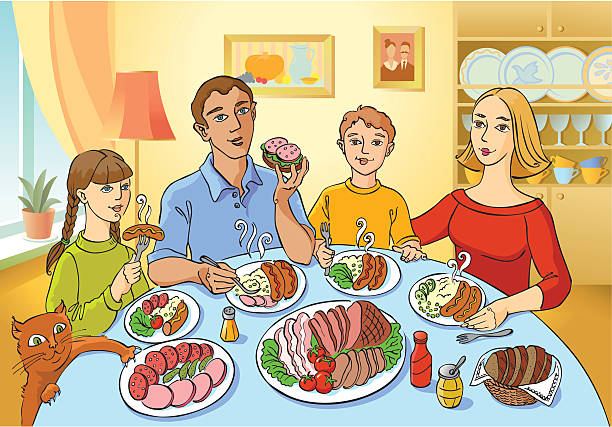 Clipart Of Family Eating Together.